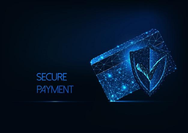 Concepto de pago seguro futurista con tarjeta de crédito poligonal resplandor bajo, escudo de aprobación de protección.