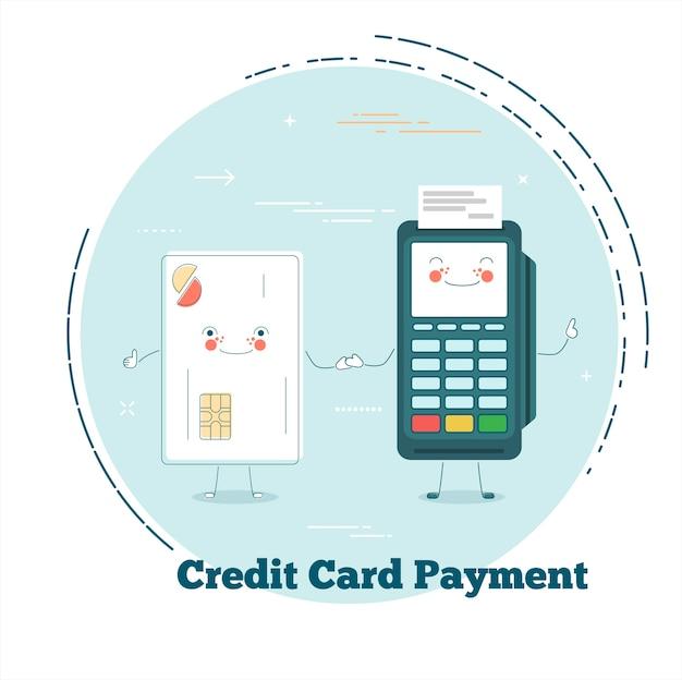 Concepto de pago con tarjeta de crédito en estilo de arte lineal