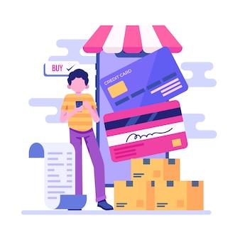 Concepto de pago con tarjeta de crédito para la página de destino