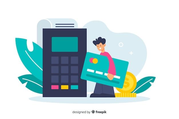 Concepto de pago con tarjeta de crédito para la página de inicio