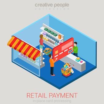 Concepto de pago de tienda de supermercado minorista isométrica plana
