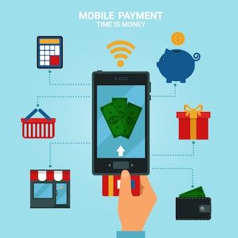 Concepto de pagos móviles o banca móvil. métodos de dinero electrónico