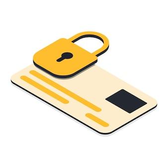 Concepto de pagos seguros tarjeta de crédito y candado en él ilustración vectorial en estilo isométrico