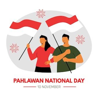 Concepto de pahlawan de diseño plano