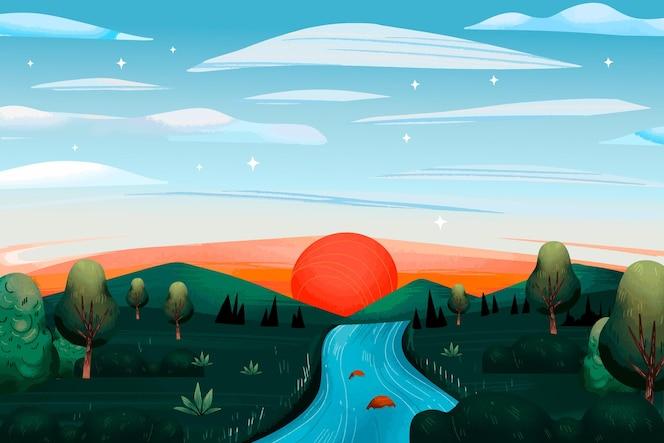 Concepto de paisaje de campo