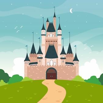 Concepto de paisaje de castillo de cuento de hadas