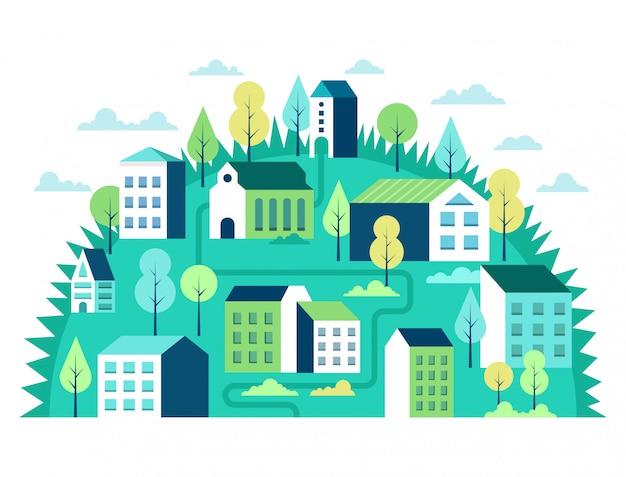 Concepto de paisaje de la ciudad escena urbana geométrica