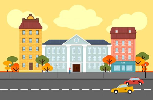 Concepto de paisaje de la ciudad de otoño