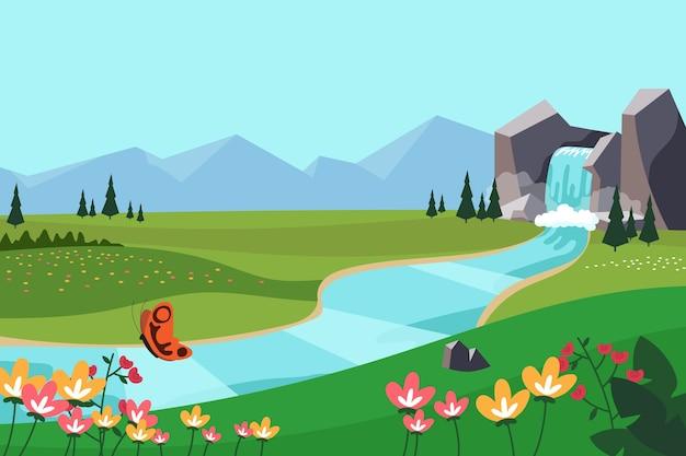 Concepto de paisaje colorido de primavera