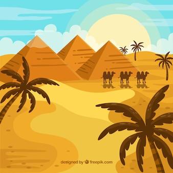Concepto de paisaje de egipto con pirámides y caravana