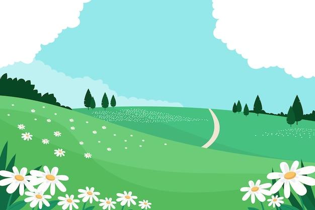 Concepto de paisaje floral de primavera