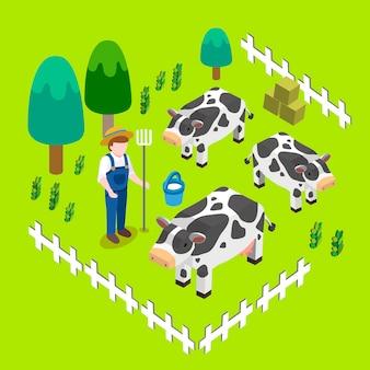 Concepto de paisaje de granja en gráfico isométrico
