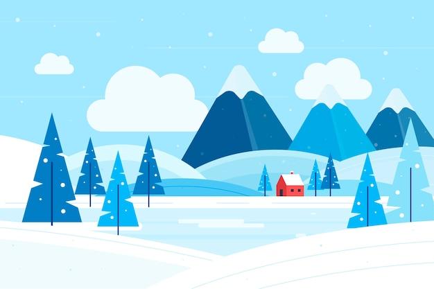 Concepto de paisaje de invierno de diseño plano