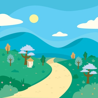 Concepto de paisaje de primavera dibujado a mano