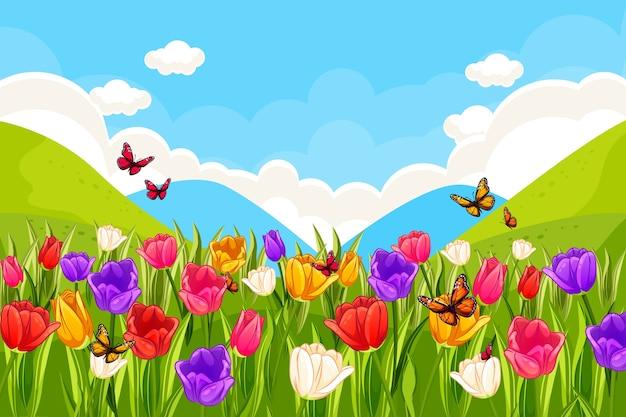 Concepto de paisaje de primavera de diseño plano