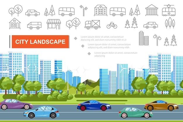 Concepto de paisaje urbano plano