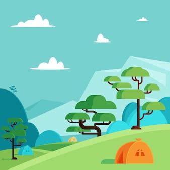 Concepto de paisaje de zona de acampada