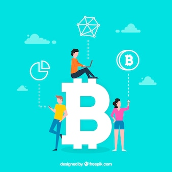Concepto de palabra bitcoin