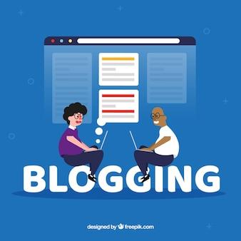 Concepto de palabra blogging