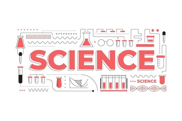 Concepto de palabra de ciencia con colección de elementos
