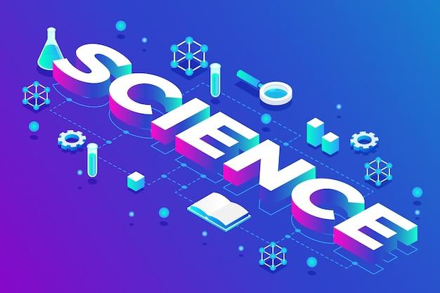 Concepto de palabra de ciencia de estilo isométrico
