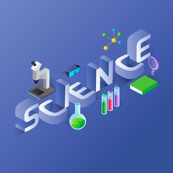 Concepto de palabra de ciencia en estilo isométrico