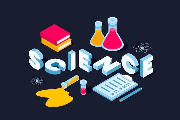 Concepto de palabra de ciencia en isométrica