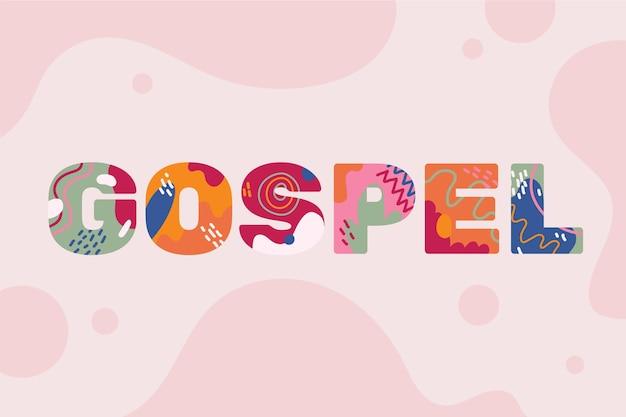 Concepto de palabra de evangelio creativo con formas abstractas