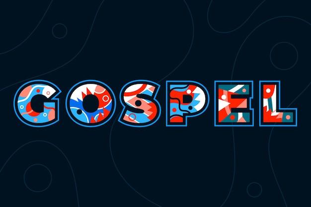 Concepto de palabra del evangelio con formas coloridas