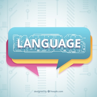Concepto de palabra idioma con diseño plano
