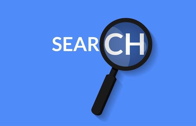 Concepto de palabra lupa y búsqueda