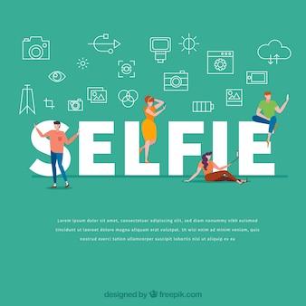 Concepto de palabra selfie