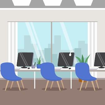 Concepto de pandemia de oficina vacía