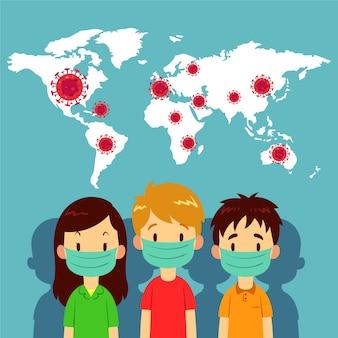 Concepto de pandemia de personas con máscaras