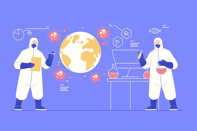 Concepto de pandemia de personas en traje de materiales peligrosos