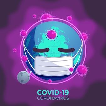 Concepto de pandemia con planeta enfermo