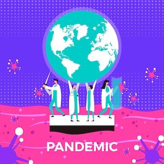 Concepto de pandemia con profesionales médicos