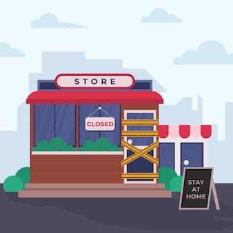 Concepto de pandemia de tiendas cerradas