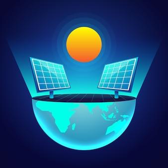 Concepto de paneles solares de ecología tecnológica