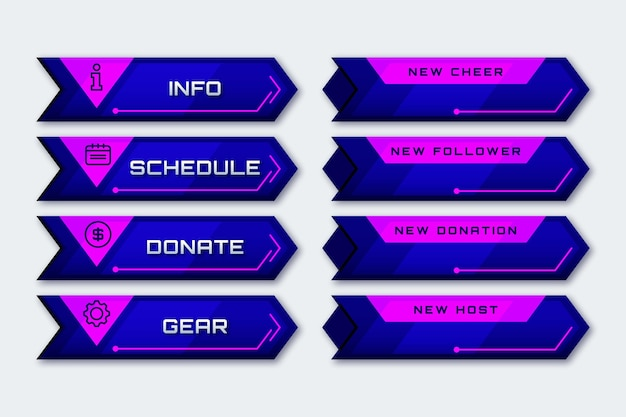 Concepto de paneles de transmisión twitch
