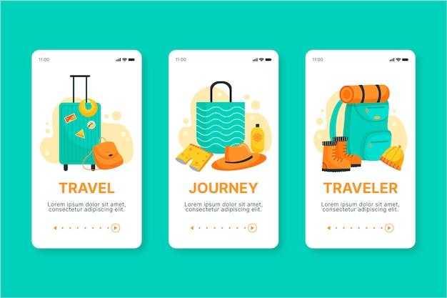 Concepto de pantalla de la aplicación de incorporación de viajes