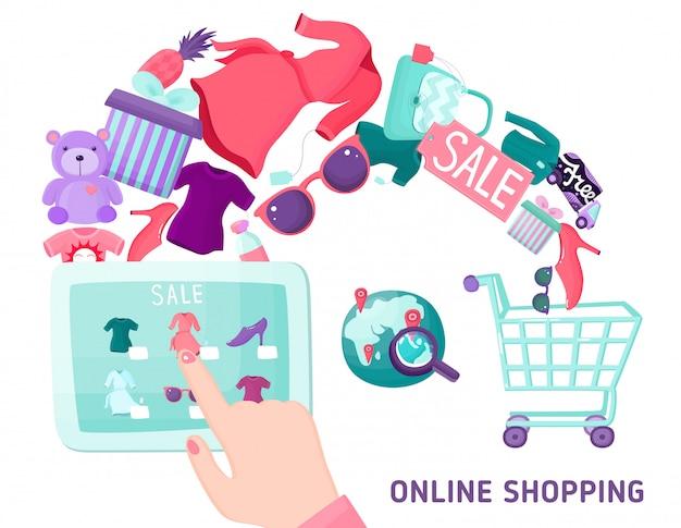 Concepto de pantalla táctil de compras en línea