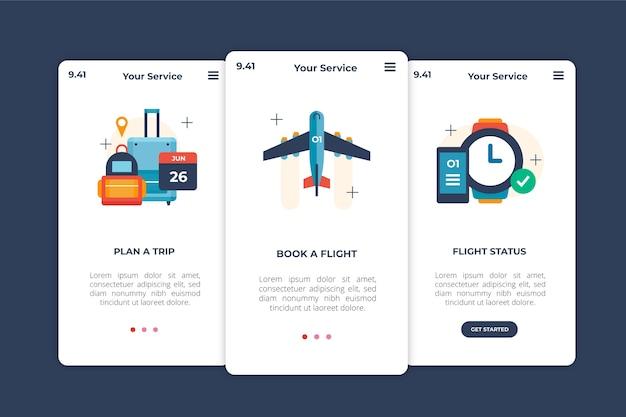 Concepto de pantallas de aplicaciones de incorporación de viajes