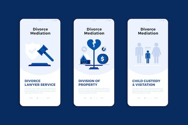Concepto de pantallas de incorporación de mediación de divorcio