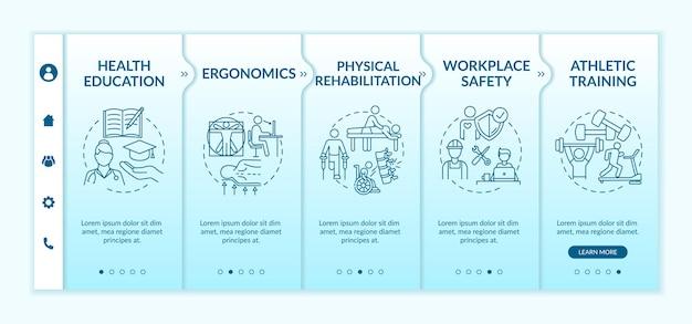 Concepto de pantallas de paso de tutorial de plantilla de incorporación de educación para la salud