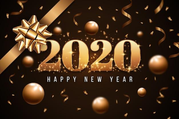Concepto de papel tapiz con arco de regalo dorado para año nuevo