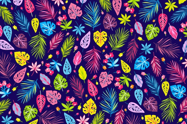 Concepto de papel tapiz estampado floral exótico colorido