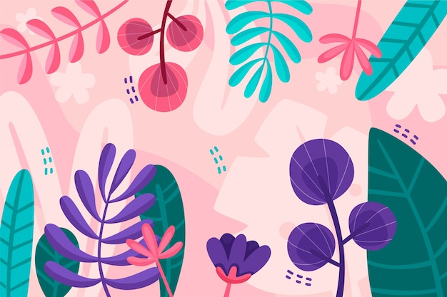 Concepto de papel tapiz floral abstracto de diseño plano
