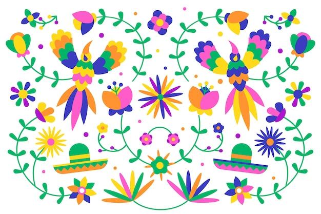 Concepto de papel tapiz mexicano colorido diseño plano