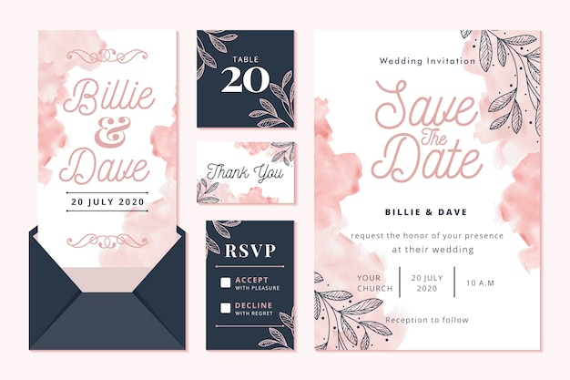 Concepto de papelería de boda con guardar la fecha